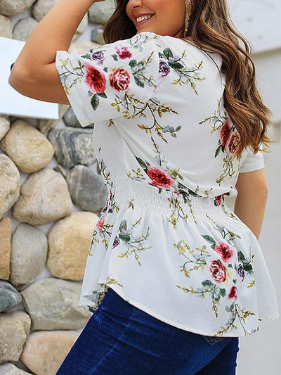V Neck Zipper Woman Flower Printed Plus Size Large Loose Blouses