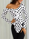 Fashion Sloping Shoulder Polka Dot Chiffon Shirt