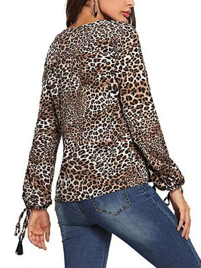 Fashion Leopard Animal Printed Woman Long Sleeve Blouses