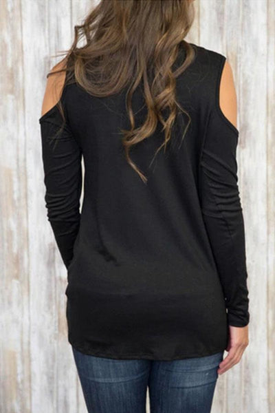 Open Shoulder  Asymmetric Hem  Plain T-Shirts