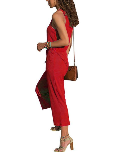Plain Round neck sleeveless nine-point jumpsuits