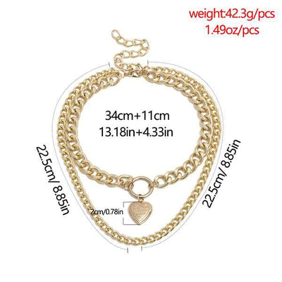 Chic Women Love Shape Design Short chain necklace