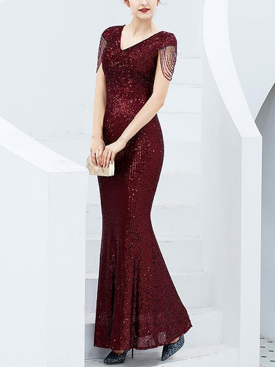 Elegant long sequined fish tail  slim long evening dresses