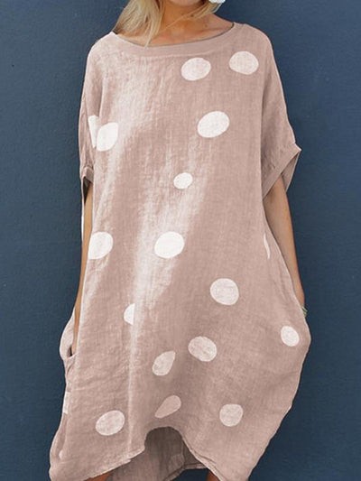 Loose Half-sleeve wave pot shift dresses