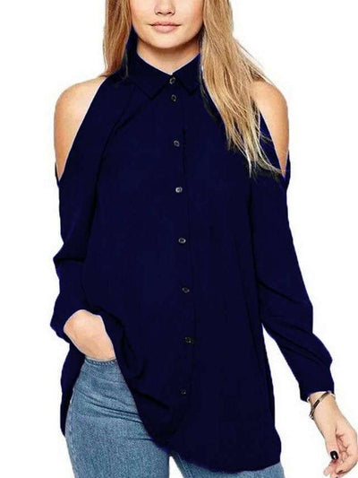 Off shoulder Casual Long sleeve Chiffon Blouses