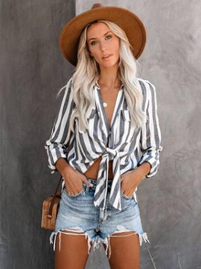 Stripe Casual rurn down collar women long sleeve blouses