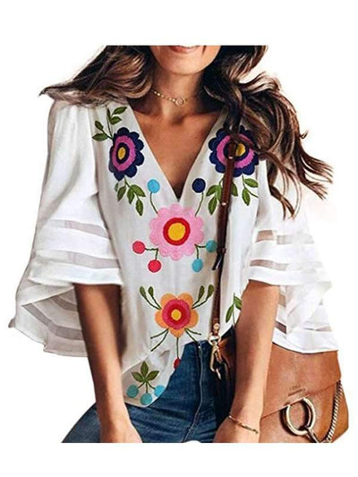 Women Fashion V Neck Half Sleeve Floral Chiffon Blouses