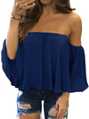 Off Shoulder Woman Summer Chiffon Short Sleeve Fashion T-shirt