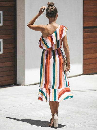Chic Stripe Printed Chiffon One off Shoulder Skater Dresses