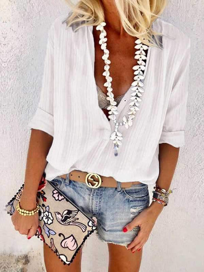 Sexy Women V-neck Button Long Sleeves Blouse
