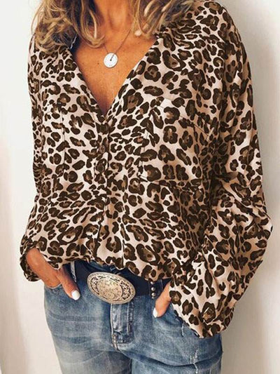Turn down neck women casual long sleeve leopard printed blouses