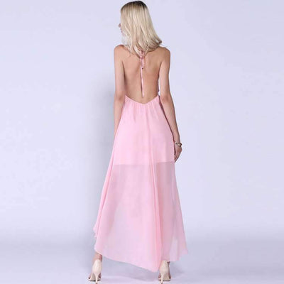 Sexy Pure Sleeveless Backless Halt Maxi Dresses