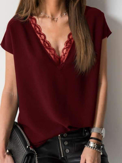 Plain sexy v-neck lace short sleeve T-shirt