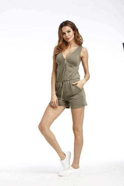 Fashion V neck Sleeveless Zipper Jumpsuits