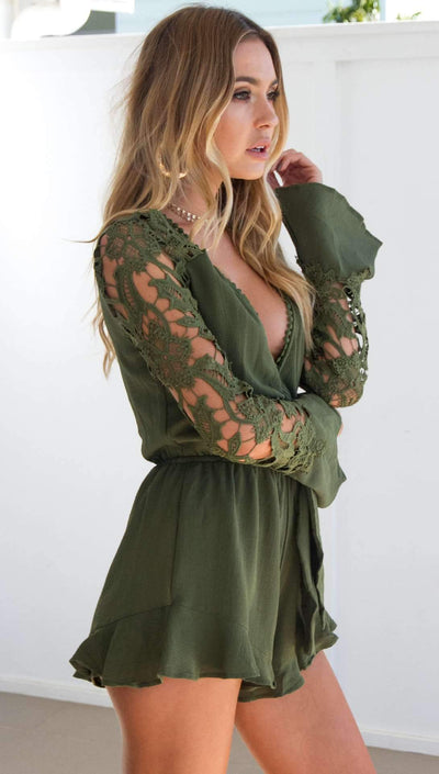 Lace Sexy Falbala Long sleeve Jumpsuits