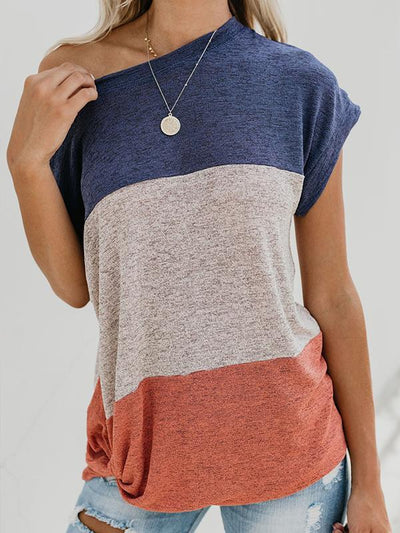 Casual bat sleeve short sleeve patchwork summer T-shirts