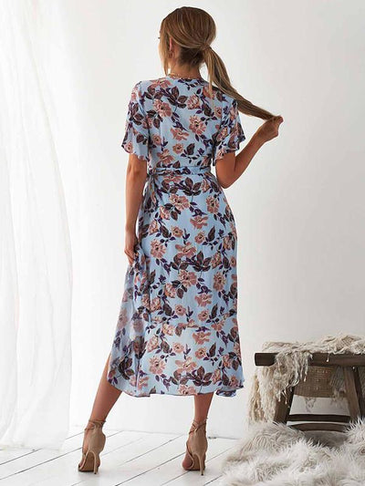 Women fashion Printed Short Sleeve Skater Iregular Hem Skater Dresses