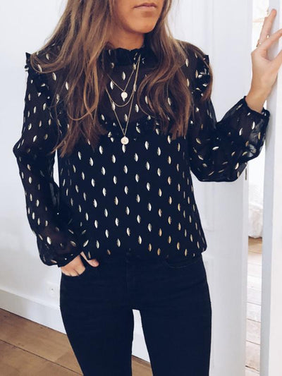 Black High collar leaf printed Woman Sexy Blouses