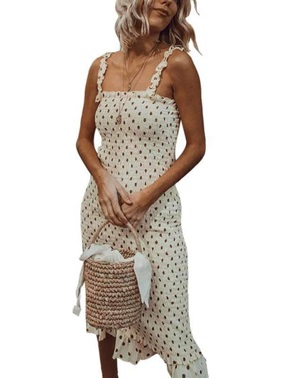Fashion Wooden ear sling pleated polka dot vacation dress