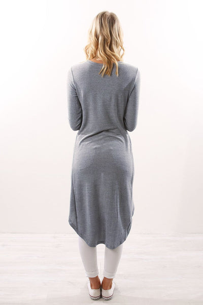 Round Neck Long Sleeve Asymmetrical Hem T-Shirts