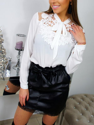 Spring Woman Long Sleeve Tie collar Blouses