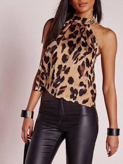 Fashion leopard printed band neck sexy slimming women backless vests