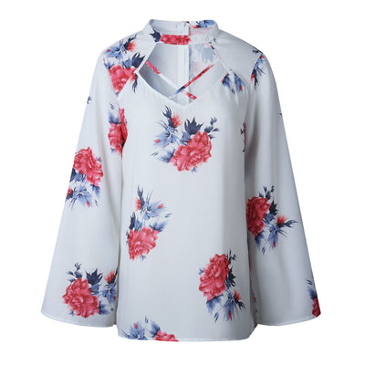 Cutout Long sleeve Floral T-Shirts