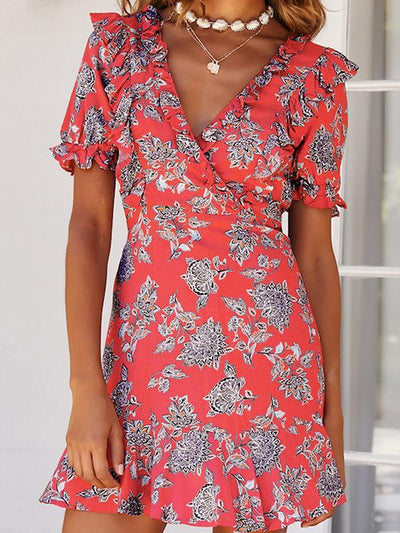 Women's printed v-neck Backless dresses