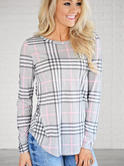 Round Neck Plaids Long Sleeve Casual T-Shirts