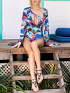 summer one-shoulder swimsuit with printed ink long sleeve coat two-piece swimwear