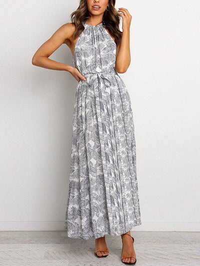 Bohemia printed women band neck long vacation dresses