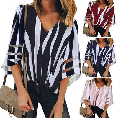 V-neck Mesh Fared Sleeve Stripe T-shirt