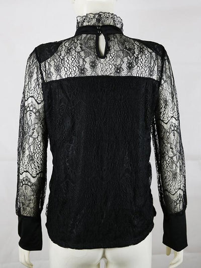 Sexy Long Sleeve Fashion Lace Black High Collar Blouses