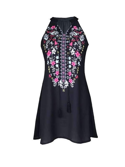 Fashion printed sleeveless lace casual shift dresses