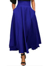 Plain Bowknot Zipper Long Skirt