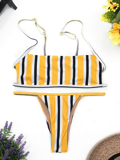 Fashion Plain Woman Gallus Bikini Swimwear