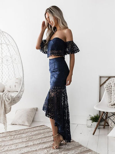 Lace strapless pencil skirt two-piece set bodycon dresses