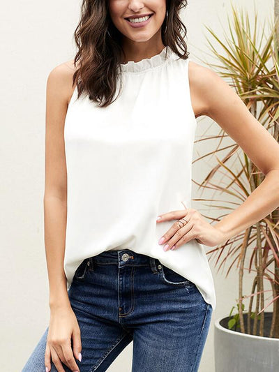 Women stand collar sleeveless T-shirts