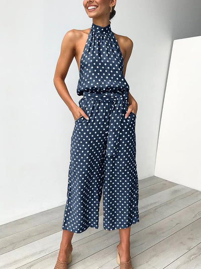 Summer sexy halter point printed Band Neck pocket jumpsuits