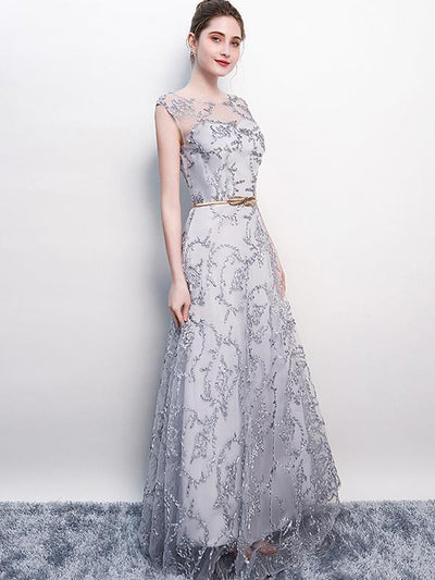 Elegant Lace Embroidery Sleeveless Evening Party Dresses