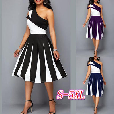 One Off Shoulder Women Irregular matching Skater Dresses