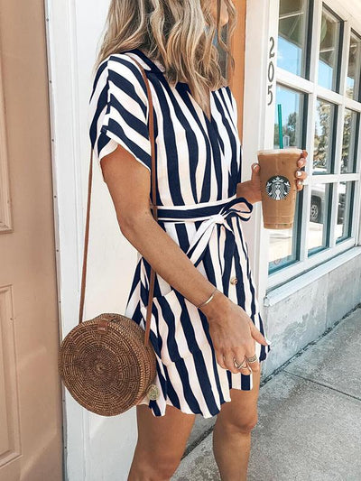 Fashion Stripe Short Sleeve V Neck Casual Skater Mini Dress