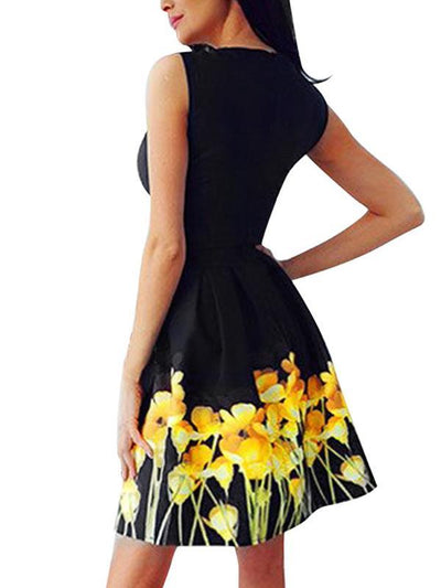 Sexy Elegant  round neck sleeveless print dress high waist skater dresses
