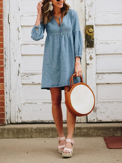 Hot style lantern sleeves denim shift dress