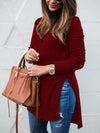 Woman V-neck Long Sleeve Slit Under Sweater