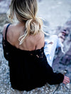 Black Spun Rayon Sexy Open Shoulder Lace Stitching Long Sleeve Blouses