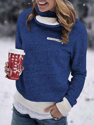 Thick High Collar Zip Woman Long Sleeve Sweatshirt