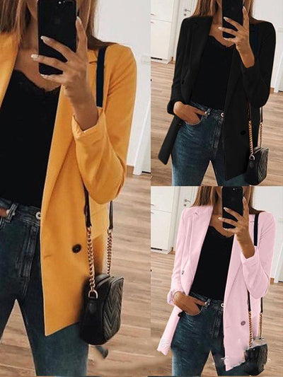 Fashion Solid Color Turn-down Collar Long Sleeve Blazers