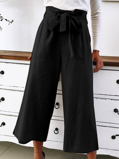 Summer plain loose belted casual wide leg woman pants