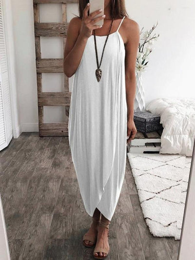 Solid color loose irregular hem strap maxi dresses